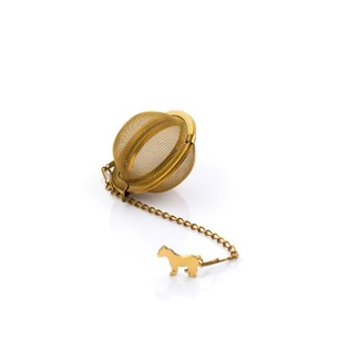 Gold Tea Ball Strainer with Dartmoor Pony.