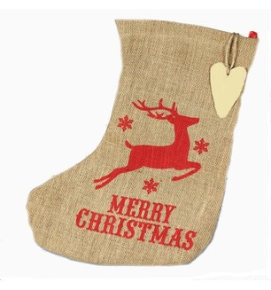 Jute Reindeer Stocking
