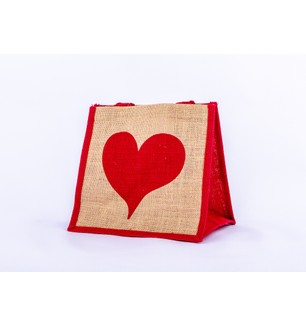 Red Heart Jute Bag