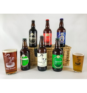 Six Devon Ales with Two Glasses